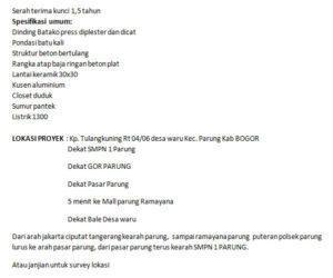 Rumah Murah Di Bogor Parung Rabani